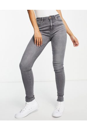 ONLY Paola life high waist skinny jeans in grey denim