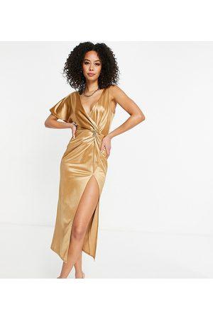ASOS ASOS DESIGN Tall one sleeve twist high split midi dress in gold