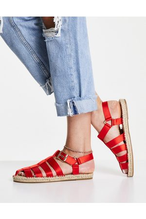 ASOS Jamjar fisherman espadrille sandals in red satin