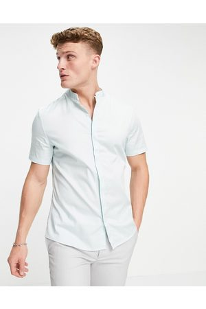 ASOS Slim fit sateen shirt with mandarin collar in blue