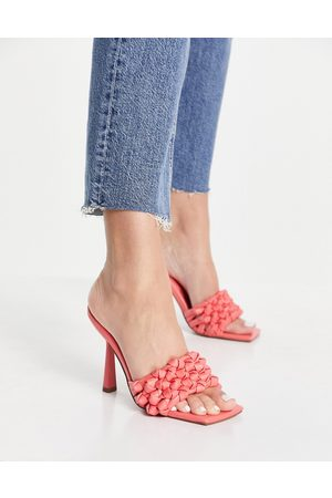 ASOS Nuno knotted high heeled mules in pink