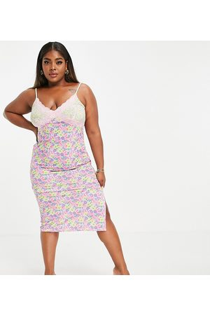ASOS ASOS DESIGN Curve strappy lace trim midi slip dress in mix and match floral-Multi