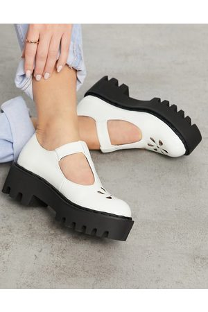 Lamoda Chunky t-bar shoes in white patent