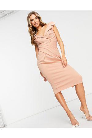 ASOS Off shoulder collar tuck pencil midi dress in -Neutral