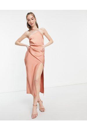 ASOS One shoulder satin midi dress with drape bodice detail-Brown