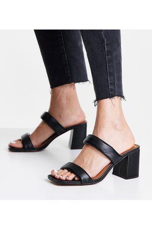 ASOS Wide Fit Hyatt padded mid heeled mules in black