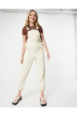 ASOS Twill dungarees with pockets in cream-Multi