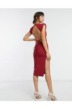 ASOS High neck rib shoulder pad tie waist midi dress in red-Purple