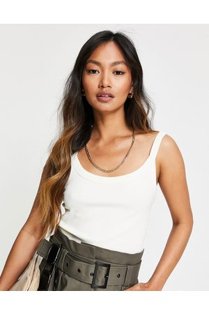& OTHER STORIES Ecovero ribbed tank top in off white