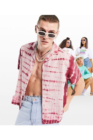 ASOS Relaxed fit cotton tie dye shirt in pink