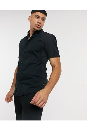 Only & Sons Short sleeve stretch cotton shirt in black