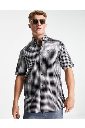 Fred Perry Short sleeve gingham shirt in navy and white