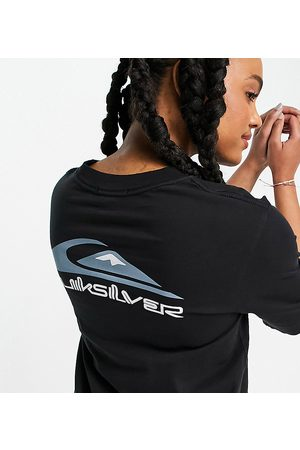 Quiksilver Mid Sleeve Logo t-shirt in black Exclusive at ASOS
