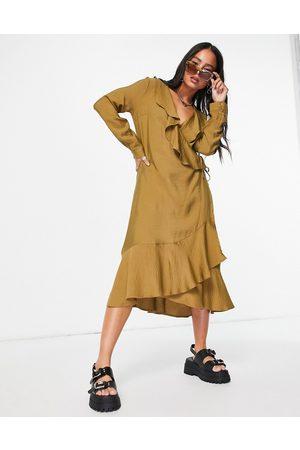 VILA Ruffle midi wrap dress in brown