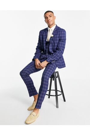 ASOS Wedding skinny suit trousers in blue and grey bold check