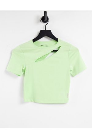 ASOS Cropped t-shirt with spliced cut out-Green