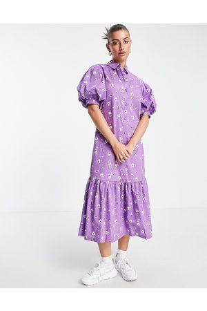 VILA Midi shirt dress with puff ball sleeves in floral print-Purple