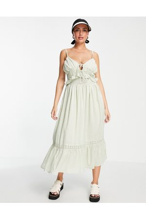 ASOS Dobby midi sundress with shirred waist and lace in sage green