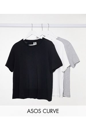 ASOS ASOS DESIGN Curve ultimate organic cotton t-shirt with crew neck 3 pack SAVE in black, white & grey marl-Multi