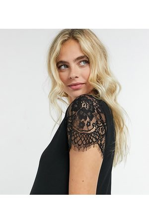 ASOS ASOS DESIGN Maternity t-shirt with lace sleeve detail in black