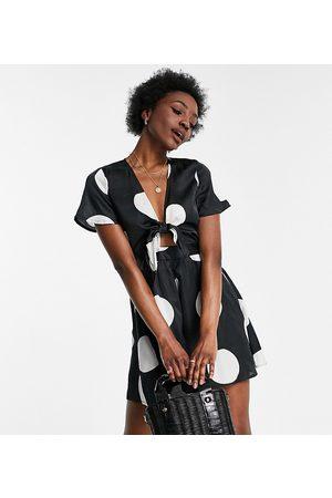 VERO MODA Romper playsuit in black with oversized white polka dots-Multi