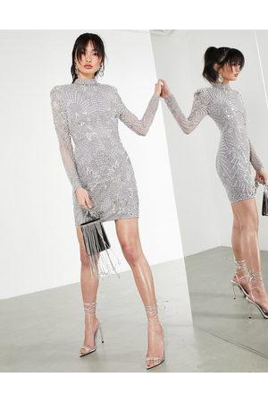 ASOS Pearl placement mini dress-Grey