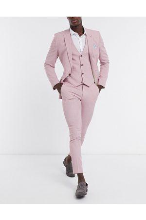 ASOS Wedding super skinny suit trousers in rose cross hatch-Pink