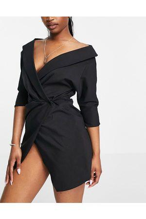 ASOS Off shoulder shirt mini dress with wrap skirt in black