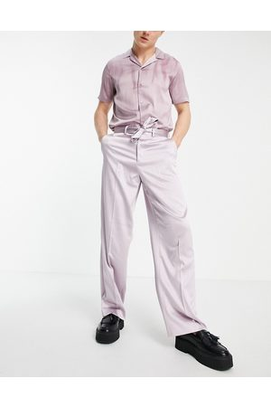 ASOS Extreme wide smart trouser in blush sateen-Pink
