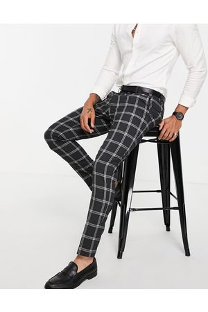 ASOS Skinny suit trousers with prince of wales check charcoal-Grey