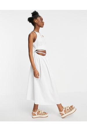 ASOS Dame Midikjoler - Cotton poplin tie wrap midi sundress in white