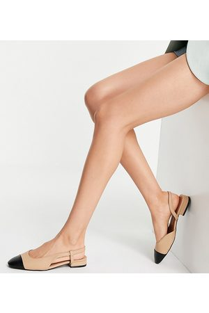 ASOS Wide Fit Lively slingback ballet flats in and black-Neutral