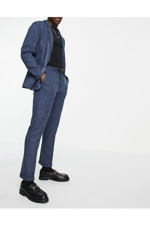 ASOS Slim soft tailored jersey suit trousers in navy wide twill and drawcord waist-Blue
