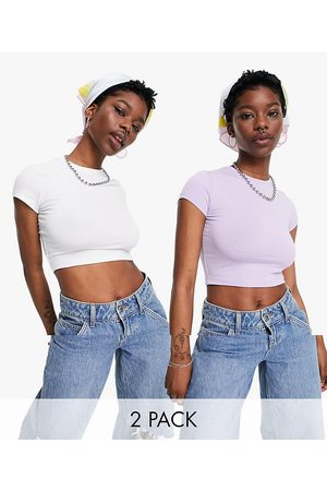 Weekday Sabra organic cotton 2 pack cropped t-shirt in white and lilac-Multi