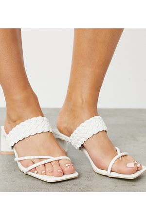 Glamorous Wide Fit Heeled sandals with woven detail in white