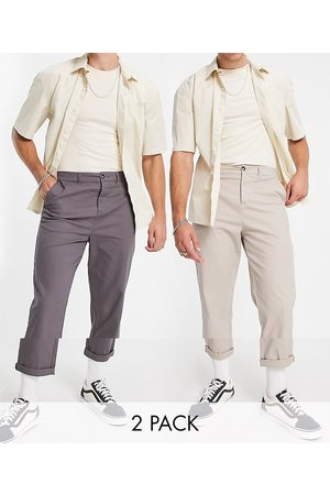 ASOS 2 pack relaxed skater chinos in charcoal and beige save-Multi