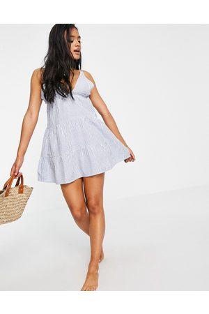 ASOS Tiered beach dress in blue seersucker stripe-Multi