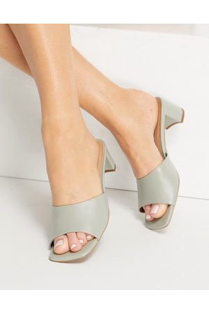 & OTHER STORIES Leather heeled mules in mint-Green