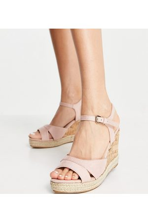 Glamorous Wide Fit Wedge sandals in blush cork-Neutral