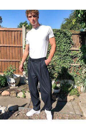 ASOS High waisted slim smart trouser in navy