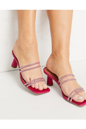ASOS Helena embellished mid heeled mules in pink
