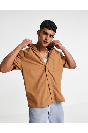 Topman Oversized paper touch shirt in tobacco-Brown