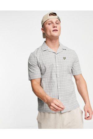 Lyle & Scott Short sleeve check seersucker resort shirt-Grey