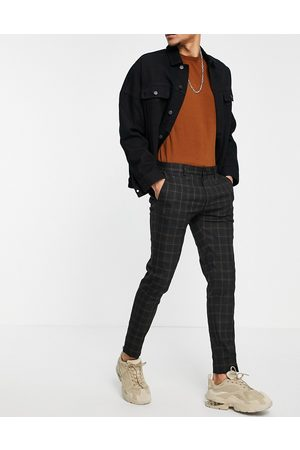 ASOS Smart super skinny trousers in black check