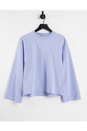 & OTHER STORIES Organic cotton long sleeve boxy t-shirt in light blue