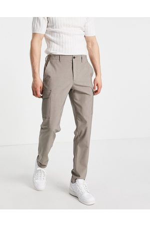 SELECTED Slim tapered cargo trousers in sand-Brown