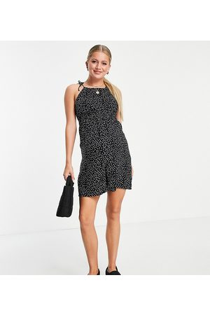 Pieces Maternity Cami playsuit in black spot-Multi