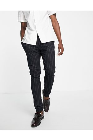 ASOS Tapered smart trousers in navy stripe