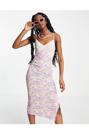 ASOS Strappy lace trim midi slip dress in mix and match floral-Multi