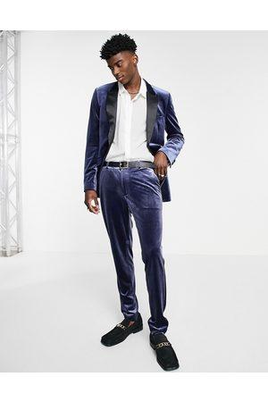 ASOS Super skinny velvet suit trousers in navy
